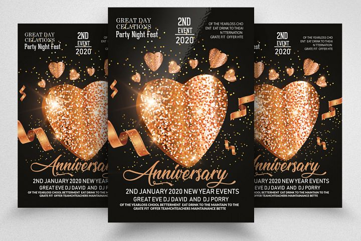 Wedding Anniversary Party Night Flyer