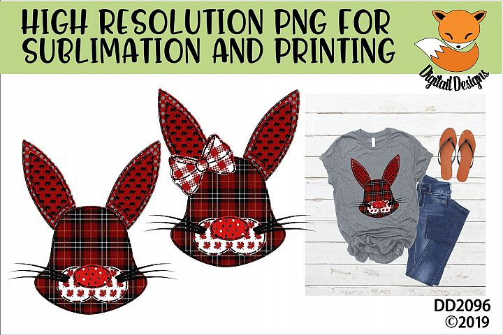 Canadian Country Faux Patchwork Rabbit Sublimation