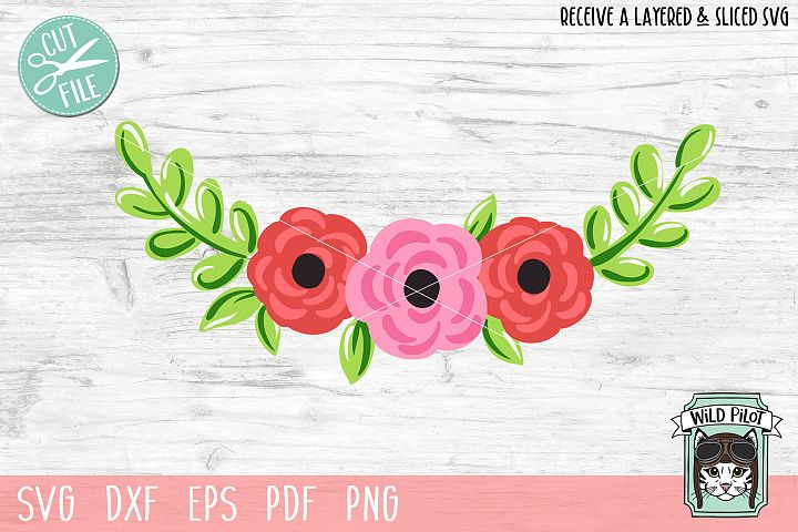 Flowers SVG file, Floral cut file, Flower Border, Stencil