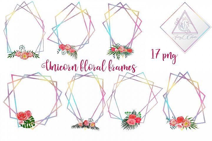 Iridescent Floral Polygonal Frames Clipart