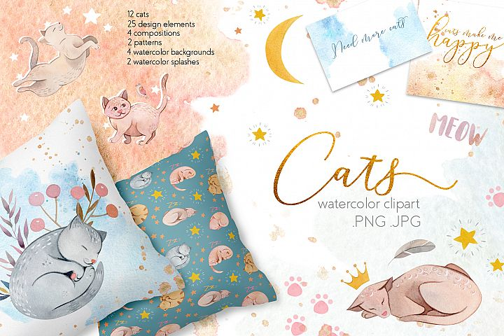 Watercolor Cats Illustrations Clipart