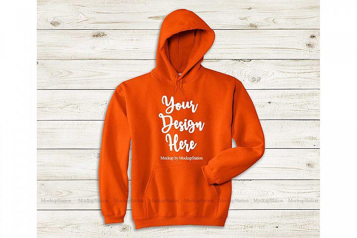 Orange Hoodie Mockup, Gildan 18500 Flat Lay Simple Mock Up