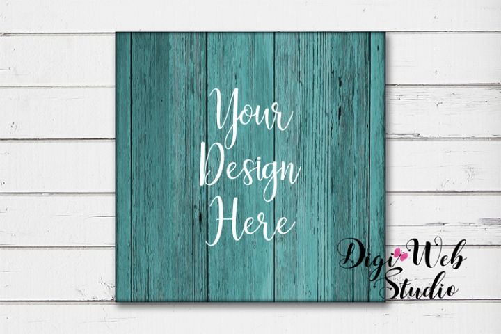 Wood Sign Mockup - Square Teal Wood Sign on White Shiplap