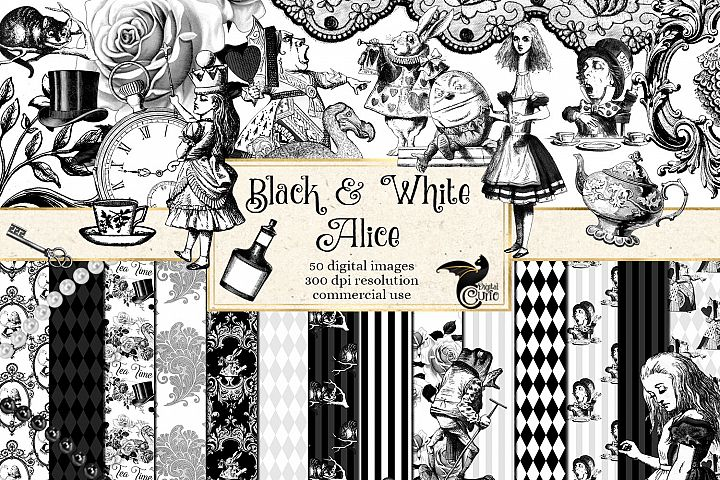 Black and White Alice in Wonderland Graphics