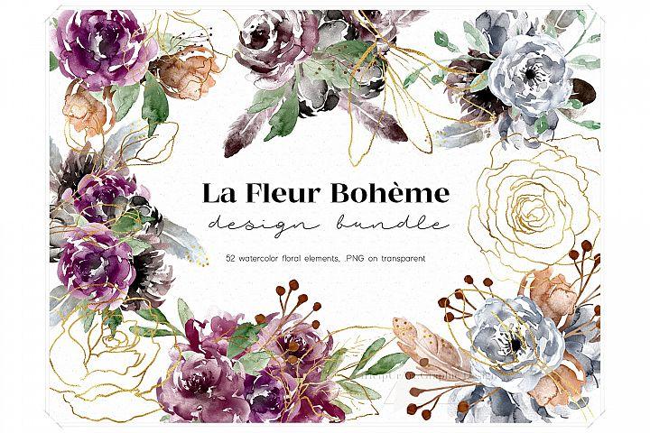 Watercolor Boho Flowers Design Bundle