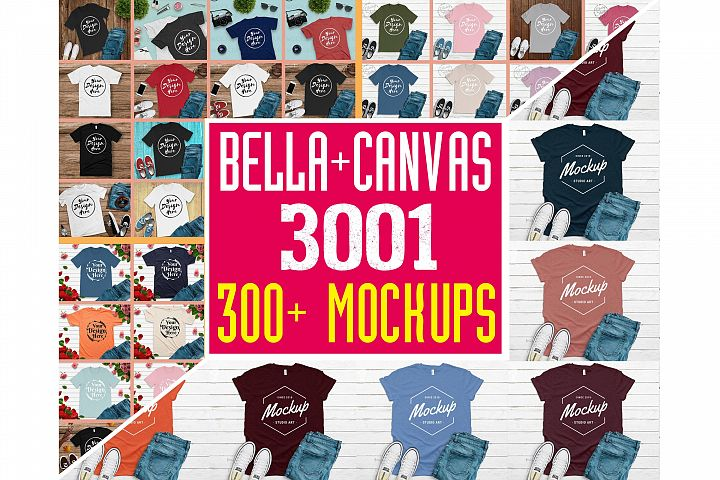 300 Mockups Bella Canvas 3001 Unisex Tshirt Flat Lay Mock Up