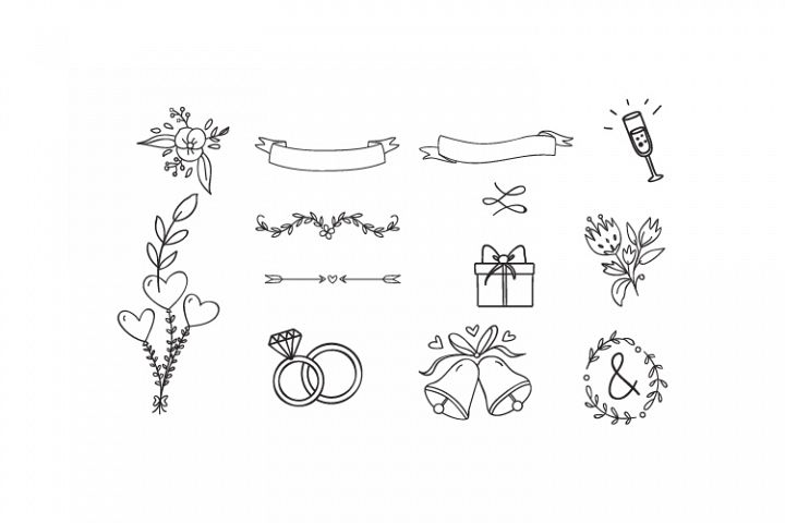 Wedding Design Elements, Ornament, Frame Clipart Clip Art