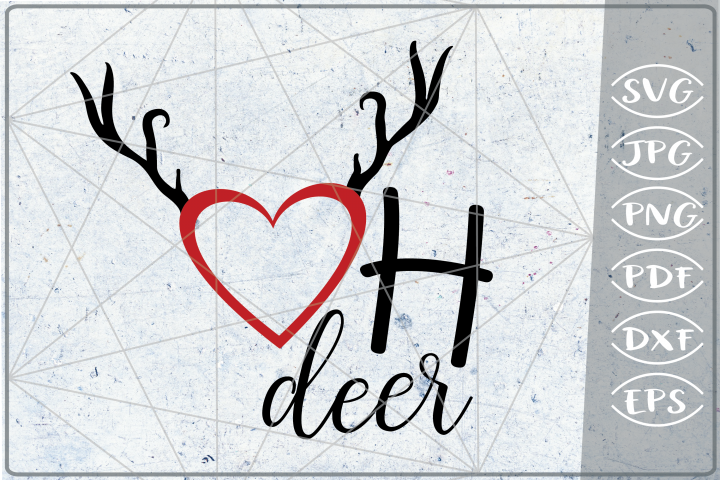 Oh Deer SVG Heart Reindeer Quote SVG Merry Christmas Quote