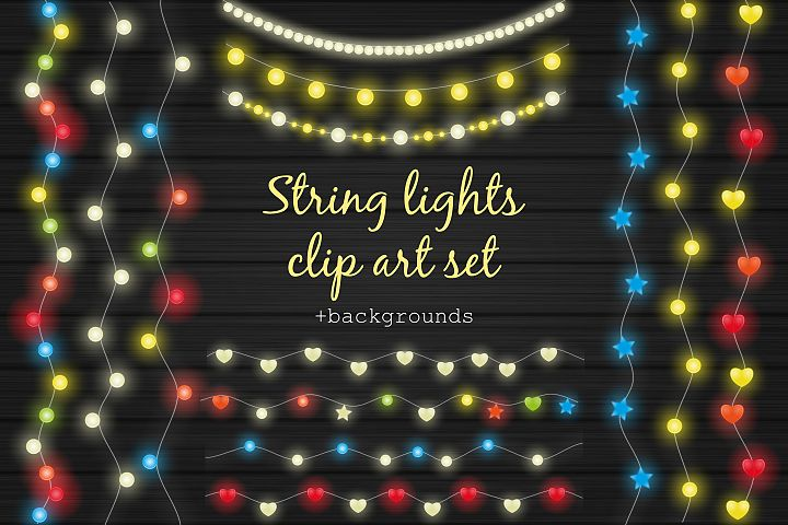 String lights clip art set