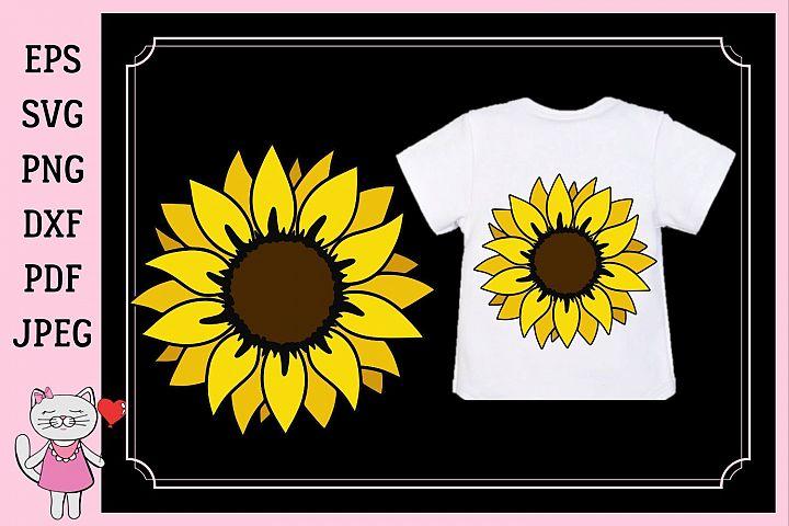 Sunflower monogram, svg, dxf, png, jpg, pdf