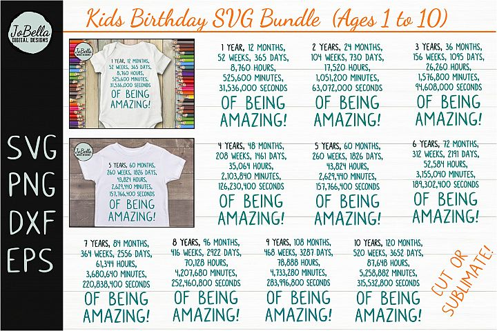 Kids Birthday SVG Bundle, Sublimation PNGs & Printables