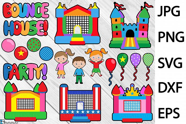 Bounce House Party - Clip art / Cutting Files 299c