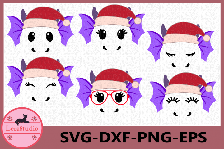 Dragon svg, Dragon Christmas svg, Mystical svg, Eyelashes