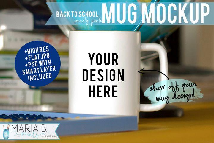 Back to School White Mug Mockup