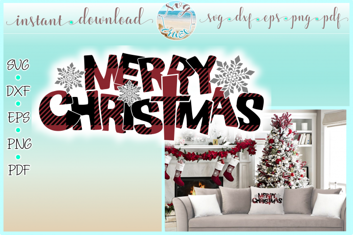 Merry Christmas with Snowflakes Buffalo Plaid Svg Cut Files