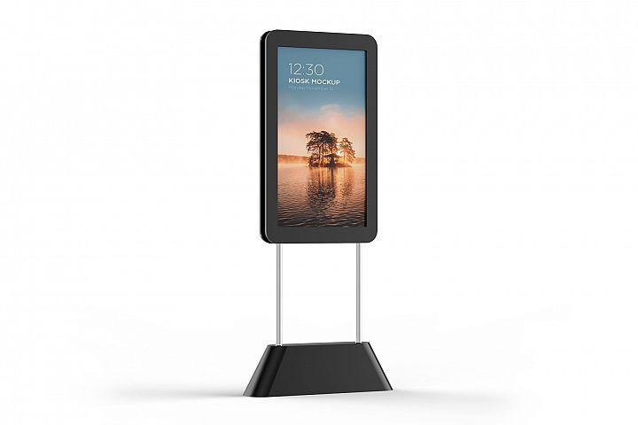 Digital Kiosk Mockup - Half Side View