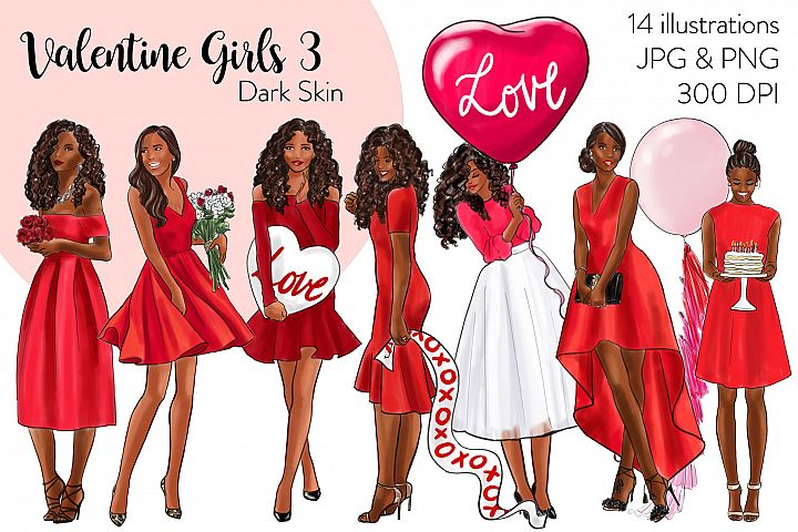 Fashion illustration clipart - Valentine Girls 3 - Dark Skin