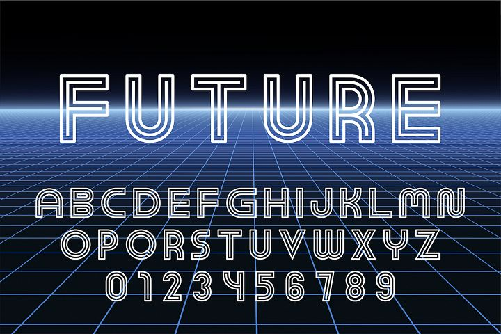 English futuristic designer alphabet
