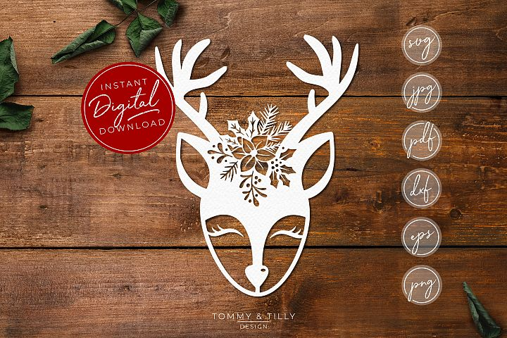 Cute Christmas Deer - SVG EPS DXF PNG PDF JPG