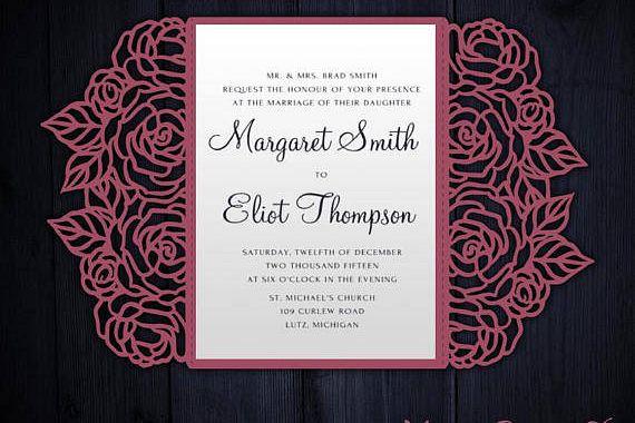 Tree Gate Fold Wedding Invitation 5x7 Cricut Template