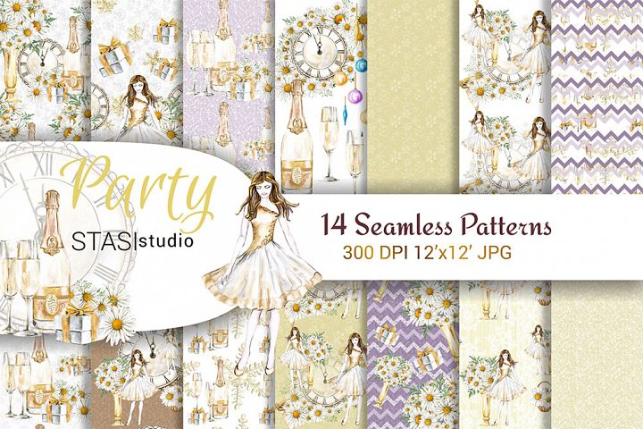 Party Watercolor Seamless Patterns