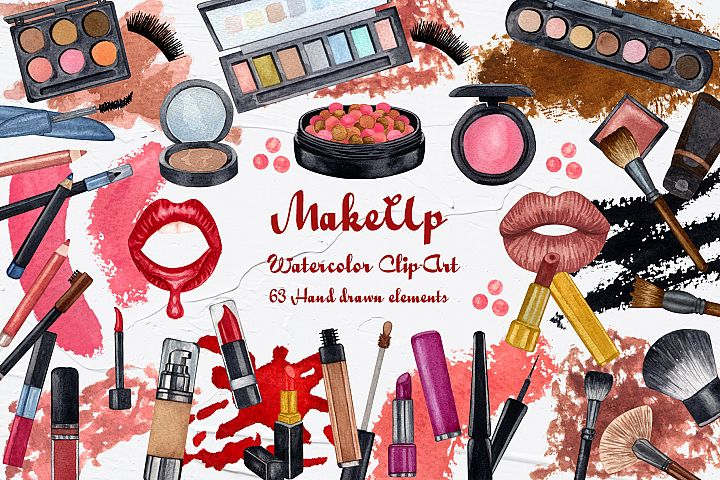 Makeup Watercolor Clip Art. 600dpi