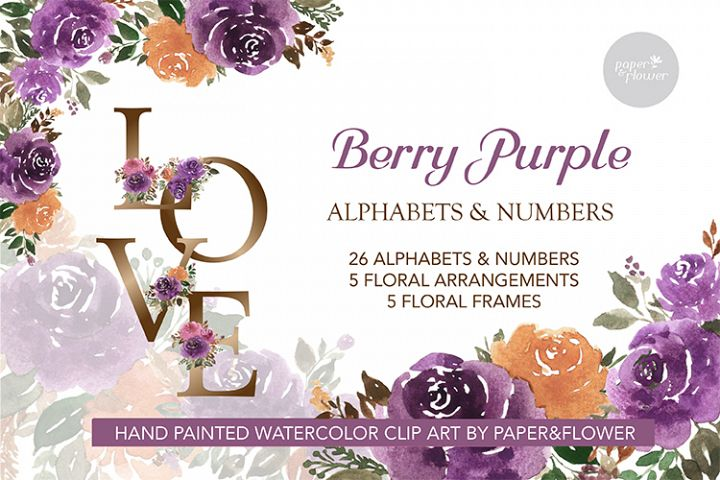 Purple Rose Floral Watercolor Alphabet Set