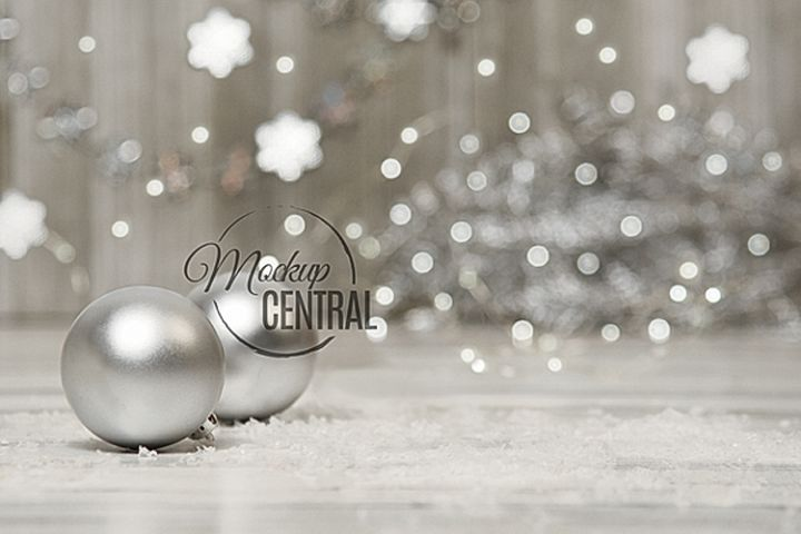 Winter Christmas Background Tabletop Mock Up, JPG Mockup