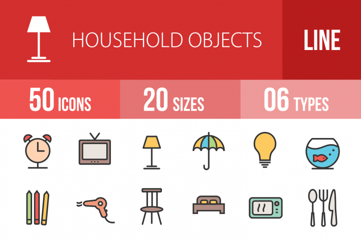 50 Household Objects Linear Multicolor Icons
