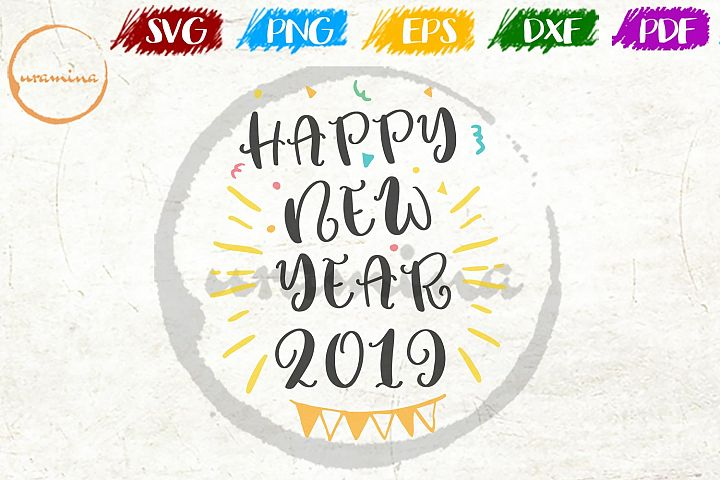 Happy new year 2019 SVG PDF PNG