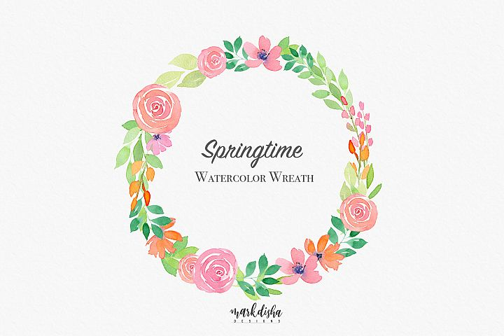 Springtime Watercolor Wreath