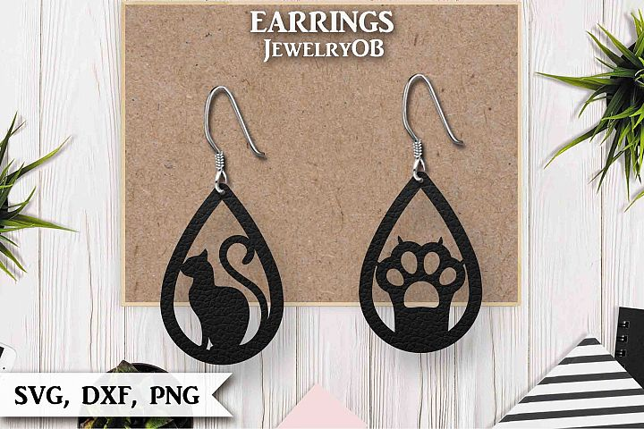 Cat, Paw, Earrings, Cut File, SVG DXF PNG, Cat Paw Teardrop