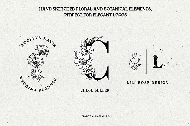Wild Blossom - Hand sketched Floral & Botanical elements example 1