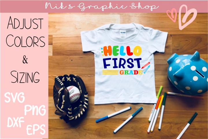 First Grade SVG, Back to School SVG, Hello Grade SVG, School