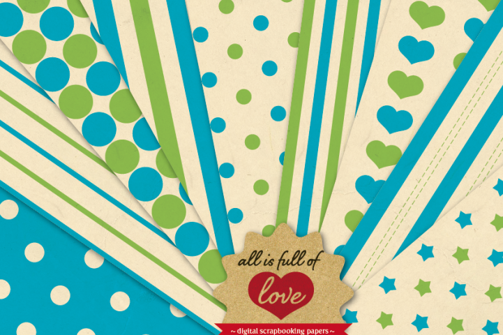 Retro Background Patterns in Blue and Green Digital Paper Pack with Stripes, Dots, Stars and Hearts