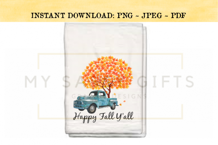 Happy Fall Yall Rustic Teal Blue Truck With Autumn Tree PNG