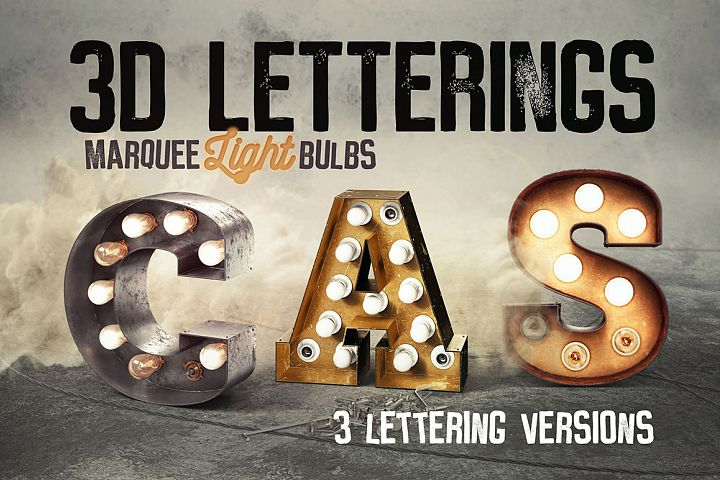 3 Light Bulbs 3D Letterings
