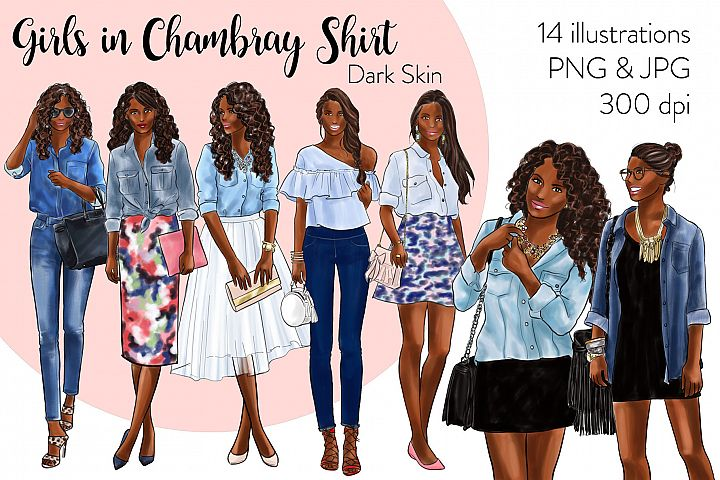 Fashion illustration clipart -Girls in Chambray Shirt - Dark