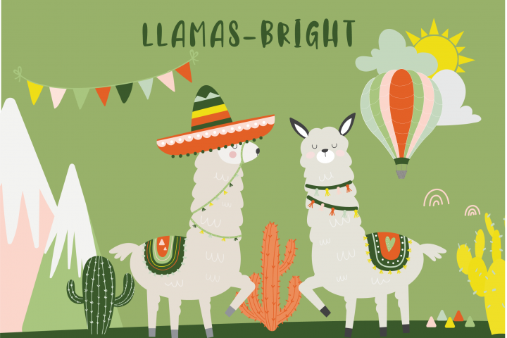 Llama clipart and paper pack