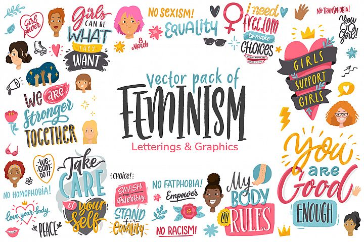 Feminism, vector letterings and graphics