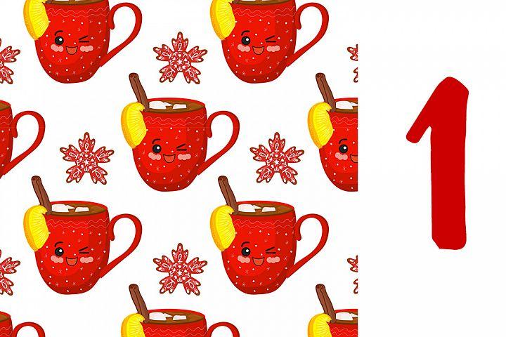 Cute vector christmas - set of kawaii greeting cards and sea
