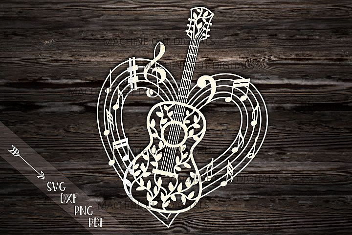 Guitar musical heart shape svg dxf laser cut out template