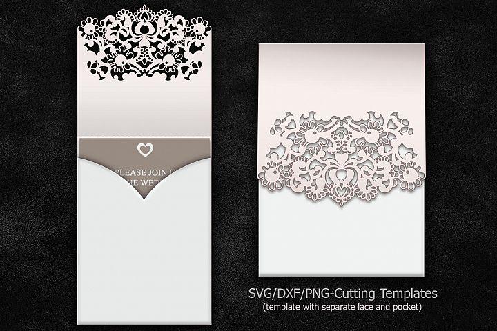 cricut laser cut wedding invitation pocket invitation sample