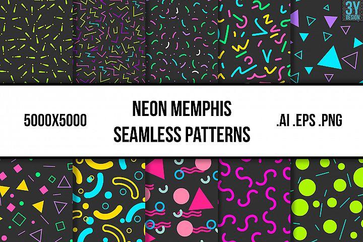 Neon Memphis Seamless Patterns