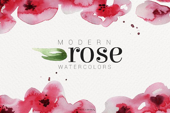 Modern Rose watercolor flower clipart