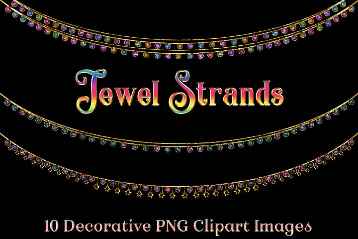 Jewel Strands Crystal Strings - 10 Image Clipart Objects Set