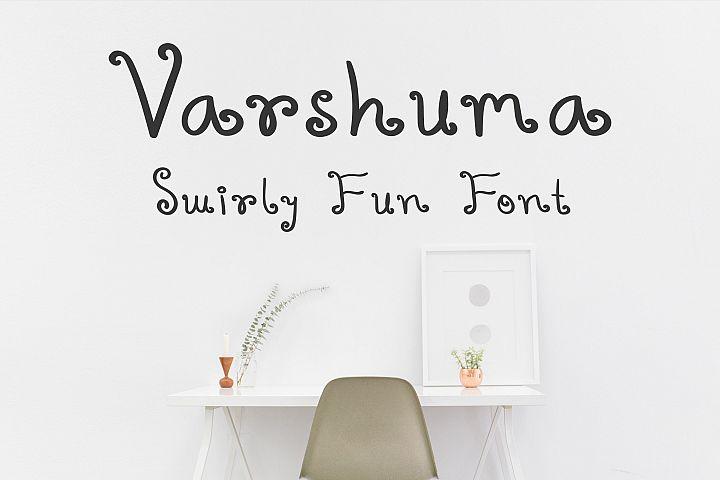 Varshuma - Handwritten Swirly Fun Font