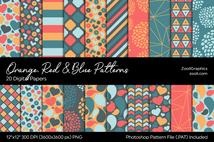 Orange, Red & Blue Digital Papers