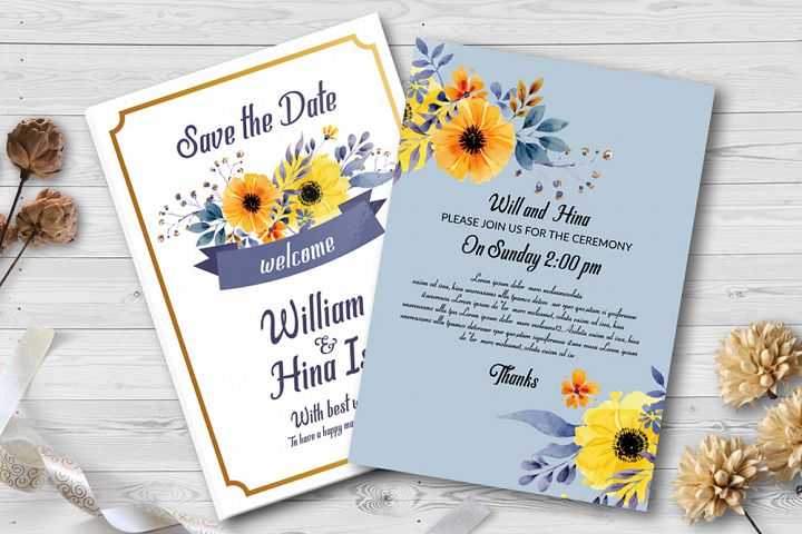 Double Sided Floral Wedding Invites