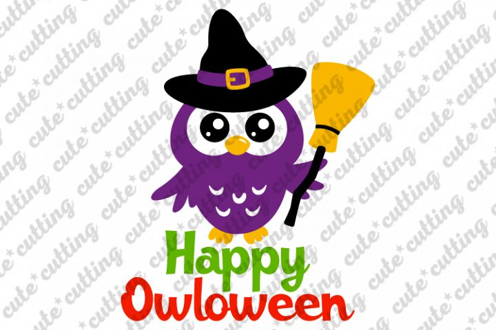 Happy owloween, Happy halloween, owl with witch hat svg, png